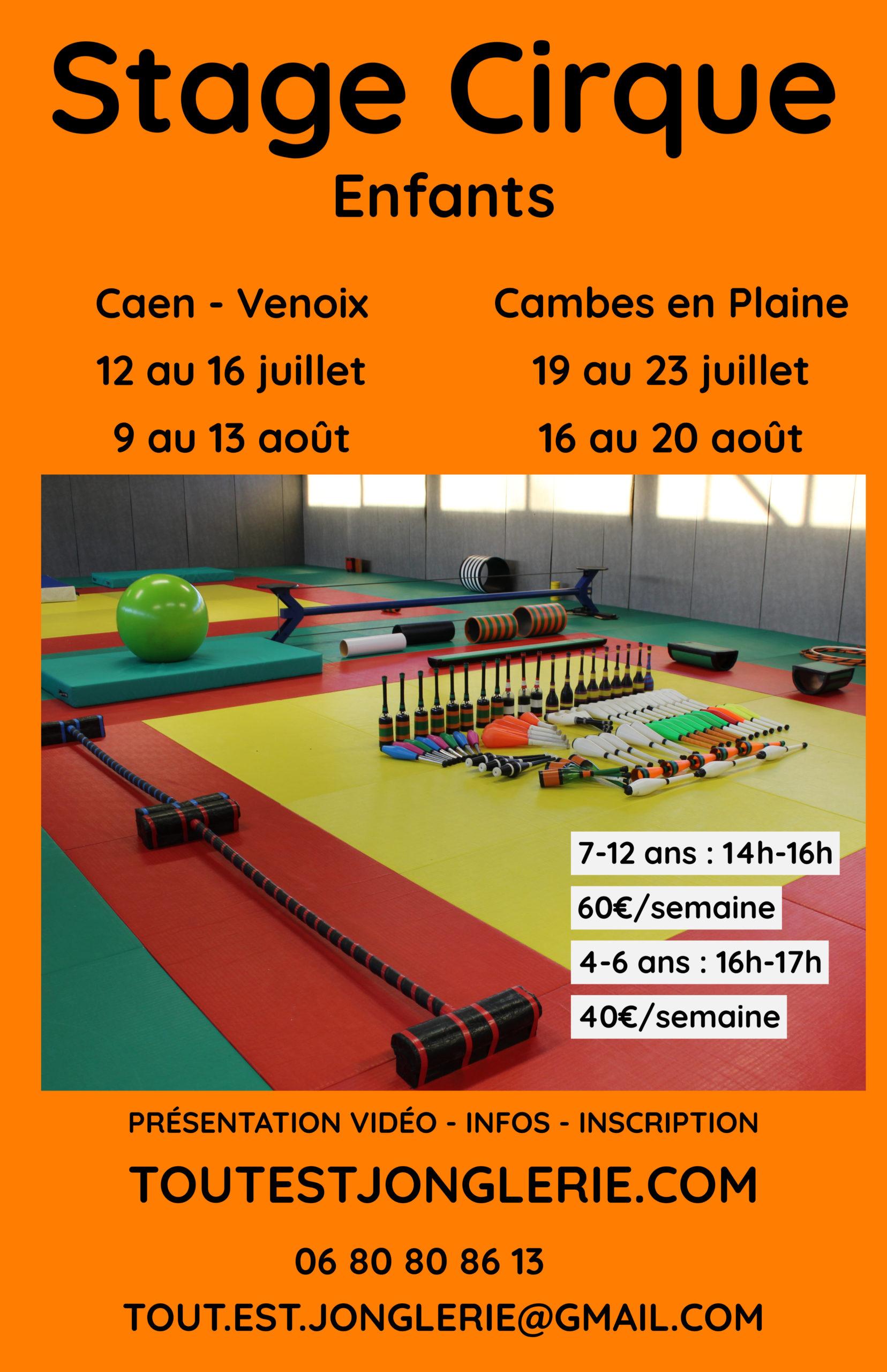 Stage cirque Vacances 2021 Tout Est Jonglerie Caen Cambes en Plaine