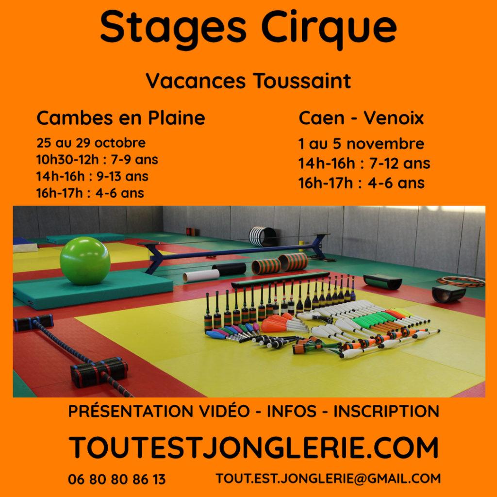 Stage cirque Vacances Cambes en Plaine CAEN Tout Est Jonglerie